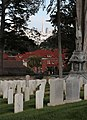 The City with Transamerica Pyramid behind gravestones at San Francisco National Cemetery in the Presidio (TK).JPG