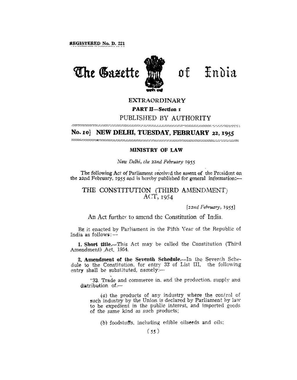 page:the constitution of india (3rd amendment) act 1954.pdf/1