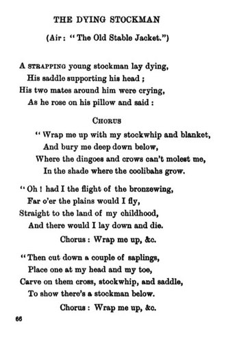 "Bush ballad - First page of ""The Dying Stockman,"" a bush ballad published in Banjo Paterson's 1905 collection The Old Bush Songs"