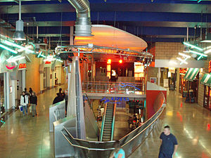 The Gate, Newcastle - A view of the inside of the Gate showing the escalator from the ground floor to the first floor.