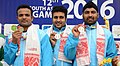 The Gold Medallist of India Vijay Kumar, Gurpreet Singh and Ashay Suhas Asthaputre in the 25m Rapid Fire Pistol Men's Team event in Shooting, at the 12th South Asian Games-2016, in Guwahati on February 15, 2016.jpg