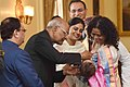 The President, Shri Ram Nath Kovind launching the Pulse Polio Programme by Administering Polio Drops to Children, at Rashtrapati Bhavan, in New Delhi.jpg