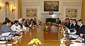 The Prime Minister, Dr. Manmohan Singh with the Prime Minister of Portugal, Mr. Jose Socrates at the delegation level talks, in New Delhi on December 01, 2007.jpg