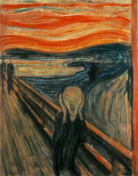 The Scream by Edvard Munch has been described as a representation of anxiety