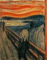 Edvard Munch painting The Scream from 1893 man at bridge with hands to ears and mouth open