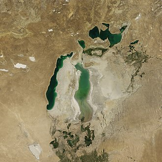 Aral Sea - The Aral Sea in August 2010, with part of the eastern basin reflooded from heavy snowmelt.