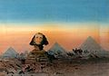 The Sphinx and the Pyramids. Watercolour by A.O. Lamplough, Wellcome V0017605.jpg