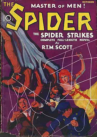 "Spider (pulp fiction) - Cover of the first issue (October 1933), featuring the story ""The Spider Strikes"""