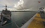 The amphibious assault ship USS Bonhomme Richard (LHD 6), foreground, sits pierside beside the amphibious transport dock USS Denver (LPD 9) at Naval Base Guam during a scheduled port visit Sept 120928-N-KB563-158.jpg