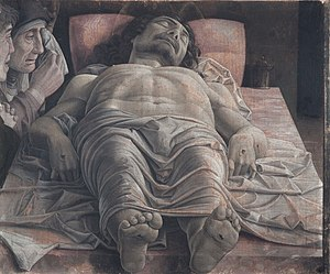 The dead Christ and three mourners, by Andrea Mantegna.jpg