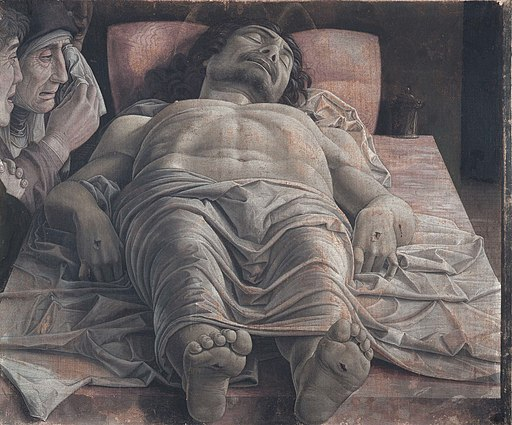 The dead Christ and three mourners, by Andrea Mantegna