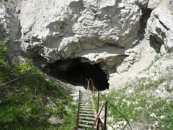 The entrance to the Orda Cave, the largest underwater gypsum cave in the world located in Ordinsky District