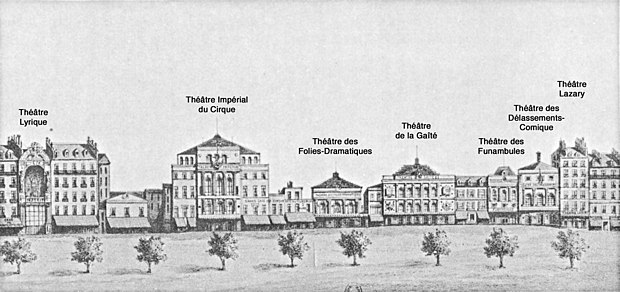 Theatres on the boulevard du Temple, ca. 1862. The Theatre des Delassements-Comiques is second from the right. Theatres of the boulevard du Temple (with labels) - Walsh 1981 p20.jpg
