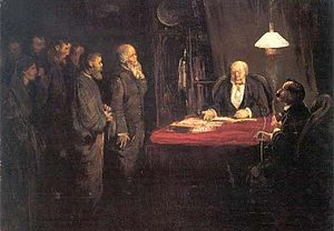 Strike action - Strike action (1879), painting by Theodor Kittelsen