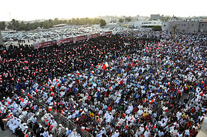 "Aftermath of the Bahraini uprising (July–December 2011) - Thousands of demonstrators gather for ""Sticking to our national demands"" rally in Musalla, Bahrain on July, 22"