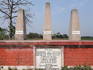 Palashi - Three Obelisks of Mirmadan, Nabe Singh Hajari and Bahadur Khan near Plassey