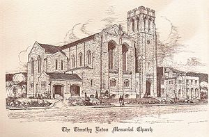 Timothy Eaton Memorial Church - Timothy Eaton Memorial Church, as pictured in the pages of the opening services programme, December 1914