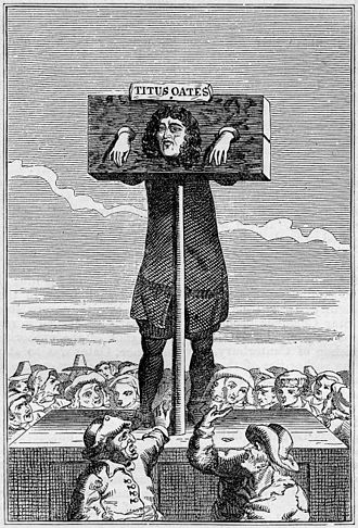 Pillory - The 17th century perjurer Titus Oates in a pillory