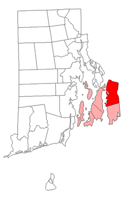 Location of Tiverton in Newport County, Rhode Island