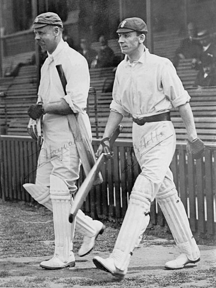 Hobbs (right) opening the batting with Tom Hayward during the County Championship match between Surrey and Warwickshire at the Oval on 2 May 1910 Tom Hayward and Jack Hobbs 1910.jpg
