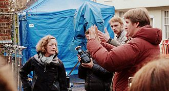 Les Misérables (2012 film) - Tom Hooper directing the second unit of Les Misérables on location in Winchester in April 2012.