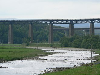 Highland Main Line - The Highland Main Line viaduct over the River Findhorn at Tomatin