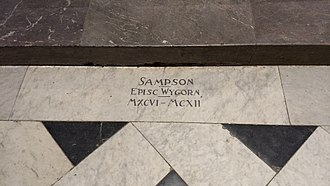 Samson (bishop of Worcester) - Tomb / grave marker of Sampson, in the floor of Worcester Cathedral
