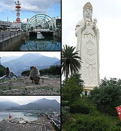 Clockwise from top left:Dofuchi Strait, Big Kannon statue in Bushi Temple, Tonoshō Port, Chōshi Gorge