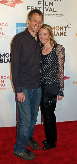 Hawk with his third wife, Lhotse Merriam, in 2007 Tony Hawk and Lhotse Merriam by David Shankbone.jpg