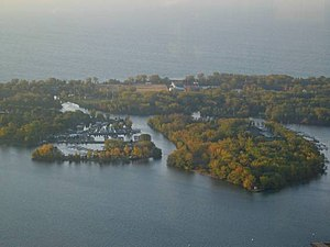 The Toronto Islands, as seen from the CN Tower