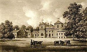 Tottenham, Wiltshire - Tottenham House, depicted circa 1790, the Palladian building designed by Lord Burlington circa 1721, largely lost following remodelling in the 1820s
