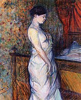 Toulouse-Lautrec - Woman in a Chemise Standing by a Bed, 1899.jpg