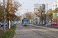 Tram in Sofia near Russian monument 002.jpg