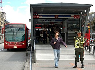 Ticket barriers at the entrance to a TransMilenio station in Bogota TransMilenio Calle 63.jpg