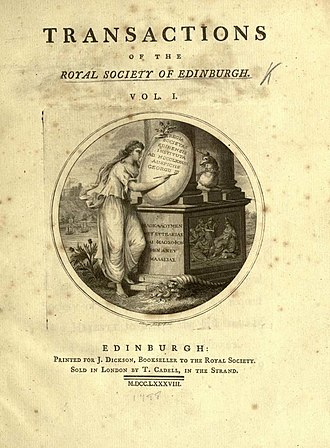 Royal Society of Edinburgh - The cover of a 1788 volume of the journal Transactions of the Royal Society of Edinburgh. This is the issue where James Hutton published his Theory of the Earth.