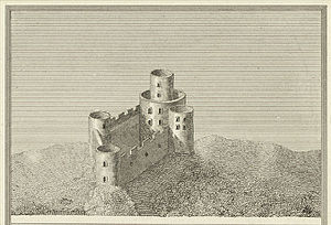 Tretower Castle - Tretower Castle, as engraved around 1800, showing an impression of its earlier and fullest extent