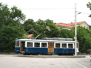 Trieste–Opicina tramway - Car 401 at Obelisco on the upper section of the tramway.