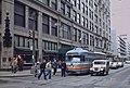 Trolley car passing downtown Pittsburgh Kaufmann's store, 1984.jpg