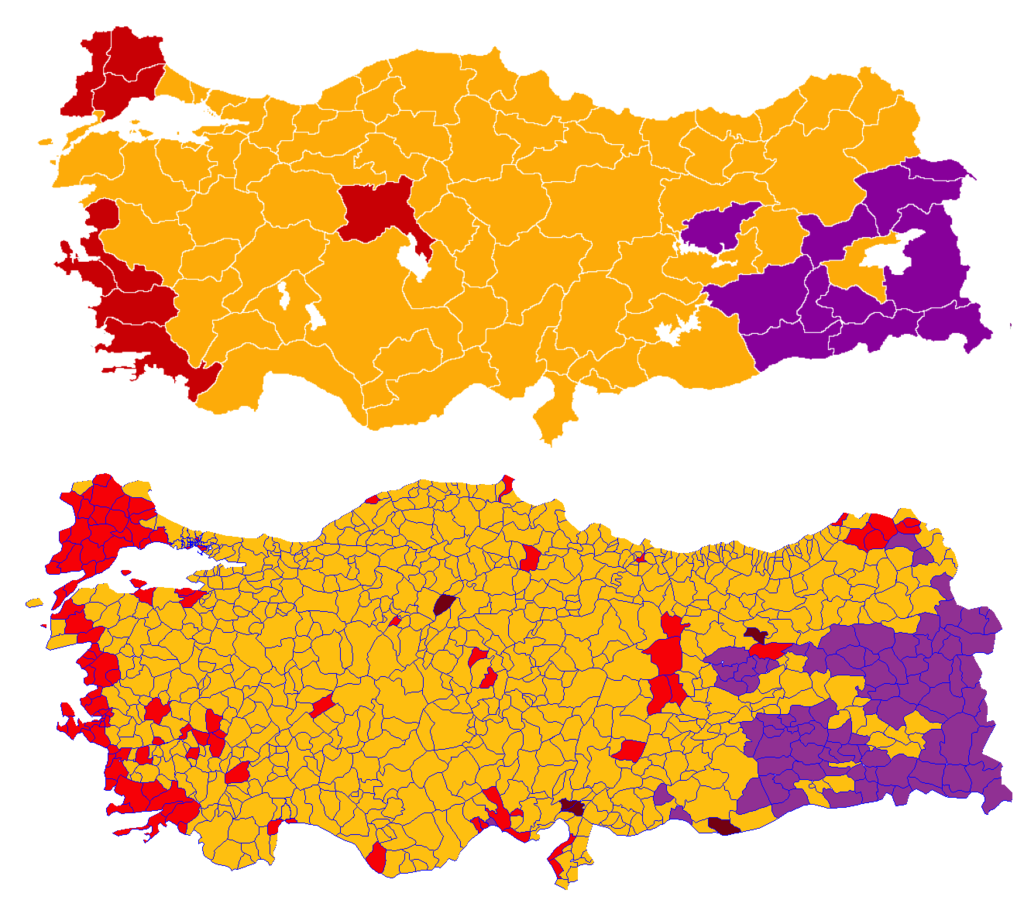 Turkish election Parliament, 2018 map