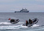 Turkish marines on F470 zodiac boats and Spanish Castilla (L-52)