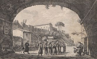 Charles Joseph Hullmandel - The Aventino, from Twenty-four views of Italy (1818)