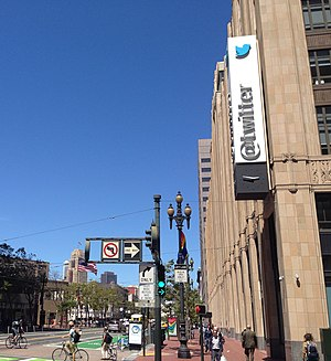 Twitter - Twitter's San Francisco, California, headquarters, as seen from a corner on Market Street.