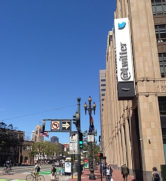 Twitter - Twitter's San Francisco, California, headquarters, as seen from a corner on Market Street