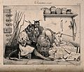 Two devils in a laboratory produce statutes with the help of a genie Wellcome V0011737.jpg