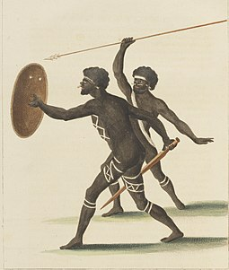 Two of the Natives of New Holland, Advancing To Combat (1770), sketched by Cook's illustrator Sydney Parkinson Two of the Natives of New Holland, Advancing to Combat.jpg