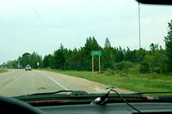 Sign at the western edge of Seney