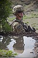 U.S. Army Sgt. Justin A. Clymer, a combat engineer with Alpha Company, 4th Brigade Special Troops Battalion, 4th Brigade Combat Team, 101st Airborne Division, scans his surroundings during a route clearance 130814-A-DQ133-522.jpg