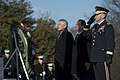 U.S. Defense Secretary Chuck Hagel, left, and French President Francois Hollande stand in front of a wreath at the Tomb of the Unknowns at Arlington National Cemetery in Arlington, Va 140211-D-BW835-350.jpg