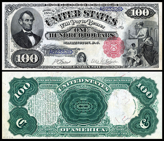 1880 $100 Legal Tender (1869 version)