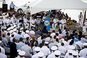 Judith Beth Cefkin - Ambassador Judith Cefkin speaks as USNS Mercy arrives at Suva Port, Fiji